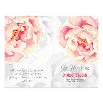 Pretty Peonies Modern Floral wedding program