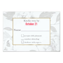 Pretty Peonies Modern Floral wedding RSVP cards