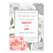 Pretty Peonies Modern Floral wedding save the date Card