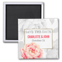 Pretty Peonies Modern Floral wedding save the Date Magnet