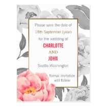 Pretty Peonies Modern Floral wedding save the date Postcard