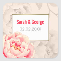 Pretty Peonies Modern Floral wedding stickers