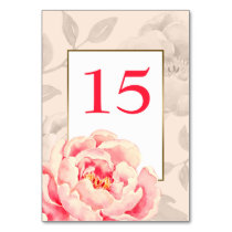 Pretty Peonies Modern Floral wedding table number Card
