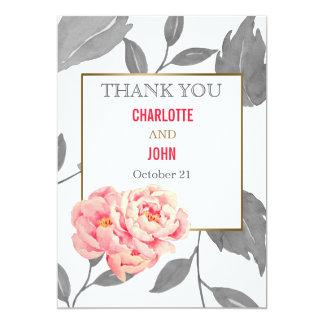 Pretty Peonies Modern Floral wedding Thank You Card
