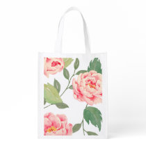 Pretty Peonies Reusable Grocery Bag