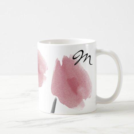 Pretty Peony Art  Flowers Monogrammed Mug