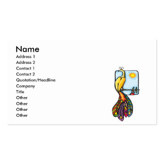 pretty perched colorful peacock peafowl business card