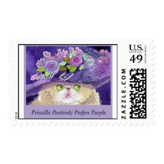 Pretty Persian Cat Priscilla Prefers Purple Postage