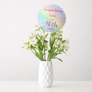 Pretty Personalised 80th Birthday Helium Balloon