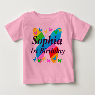 PRETTY PERSONALIZED 1ST BIRTHDAY BUTTERFLY T SHIRT