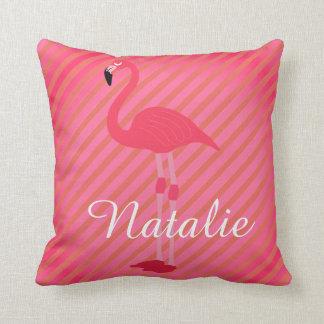 Pretty Personalized Flamingo Reversible Throw Pillow