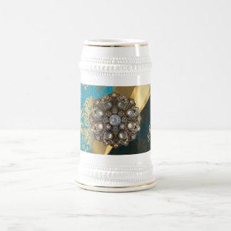 Pretty personalized girly aqua damask pattern beer stein