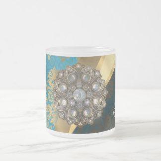 Pretty personalized girly aqua damask pattern frosted glass coffee mug