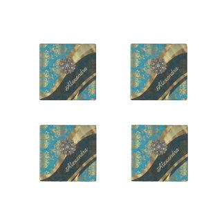 Pretty personalized girly aqua damask pattern stone magnet