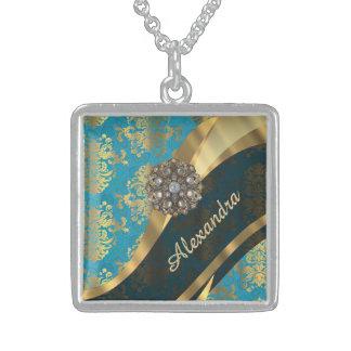 Pretty personalized girly aqua damask pattern square pendant necklace