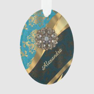 Pretty personalized girly aqua damask pattern ornament