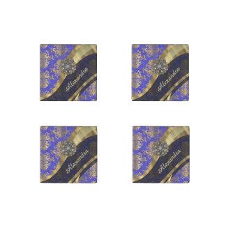 Pretty personalized girly blue damask pattern stone magnet