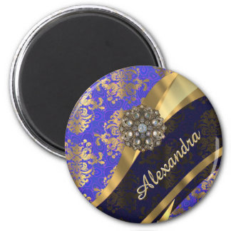 Pretty personalized girly blue damask pattern 2 inch round magnet