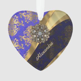Pretty personalized girly blue damask pattern ornament