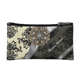 Pretty personalized girly cream damask pattern makeup bags