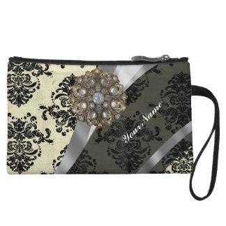 Pretty personalized girly cream damask pattern wristlet purses