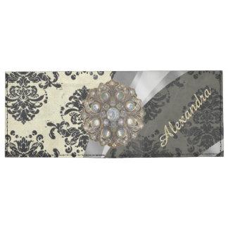 Pretty personalized girly cream damask pattern tyvek® billfold wallet