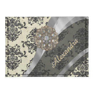 Pretty personalized girly cream damask pattern tyvek® card case wallet