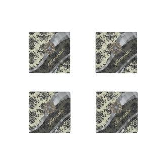 Pretty personalized girly cream damask pattern stone magnet