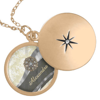 Pretty personalized girly cream damask pattern locket necklace