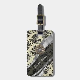 Pretty personalized girly cream damask pattern luggage tag