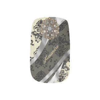 Pretty personalized girly cream damask pattern minx® nail wraps