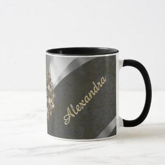 Pretty personalized girly cream damask pattern mug