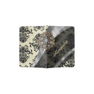Pretty personalized girly cream damask pattern passport holder