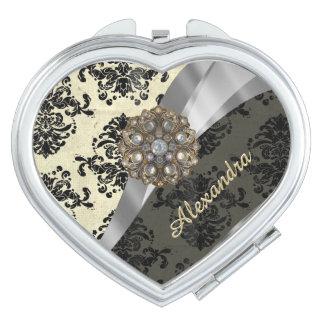 Pretty personalized girly cream damask pattern makeup mirrors