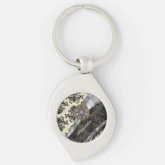 Pretty personalized girly cream damask pattern Silver-Colored swirl keychain