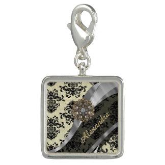 Pretty personalized girly cream damask pattern charms
