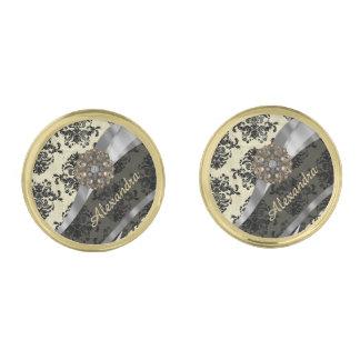 Pretty personalized girly cream damask pattern gold finish cuff links