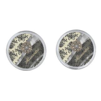 Pretty personalized girly cream damask pattern silver finish cuff links