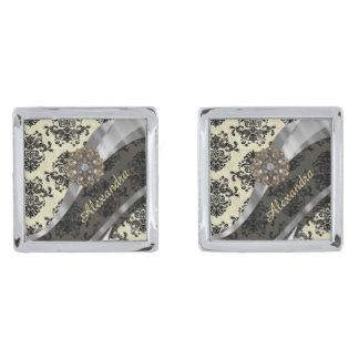 Pretty personalized girly cream damask pattern silver finish cufflinks