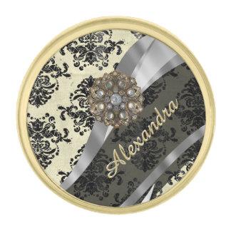Pretty personalized girly cream damask pattern gold finish lapel pin