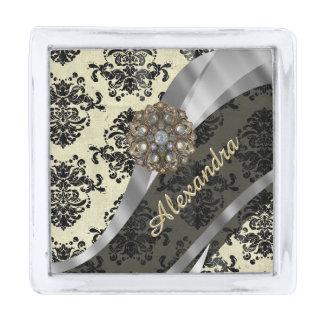 Pretty personalized girly cream damask pattern silver finish lapel pin