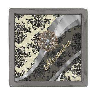 Pretty personalized girly cream damask pattern gunmetal finish lapel pin