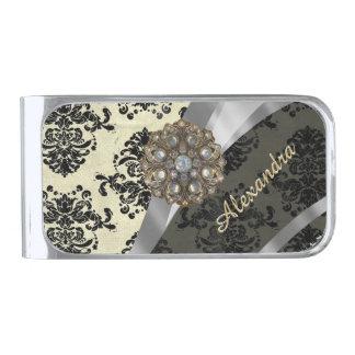Pretty personalized girly cream damask pattern silver finish money clip