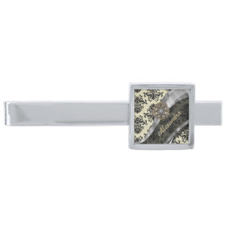 Pretty personalized girly cream damask pattern silver finish tie clip