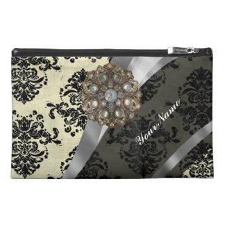 Pretty personalized girly cream damask pattern travel accessory bag