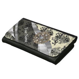 Pretty personalized girly cream damask pattern wallet