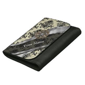 Pretty personalized girly cream damask pattern wallets