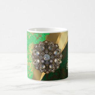 Pretty personalized girly green damask pattern coffee mug