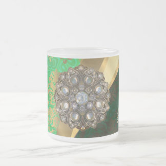 Pretty personalized girly green damask pattern frosted glass coffee mug