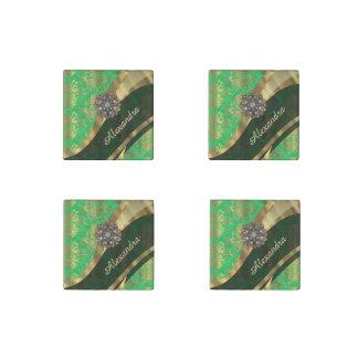 Pretty personalized girly green damask pattern stone magnet